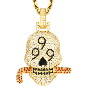 Iced Out AAA+CZ 999 Skull Pendant w/ Cuban Link, Tennis Necklace, Or Rope Chain