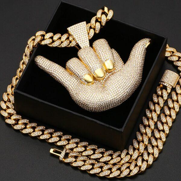 "Iced AAA+CZ Rock On Punk Hand Gesture Pendant,18"",20"",24"",30""x10,8mm Cuban Link"