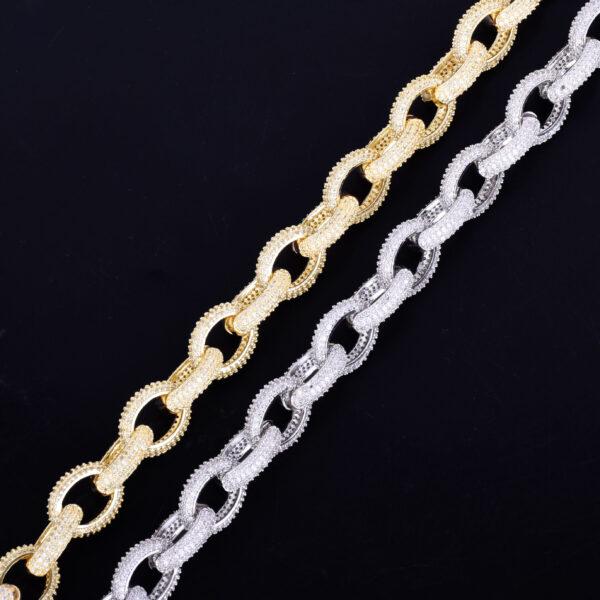 "Men's 12mm Heavy Punk Choker AAA+ Rocks Gold/Silver Color Chain Sizes 18""20""24"""