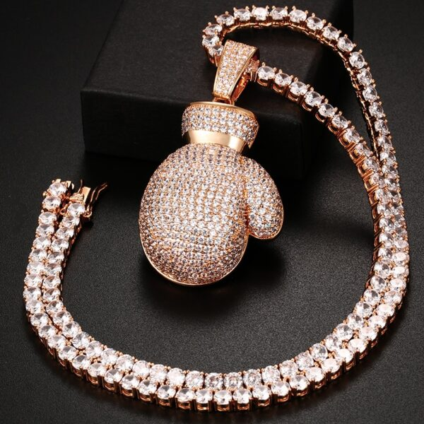 Iced Out AAA+ CZ Boxing Gloves Bling Pendant With Tennis, Rope Chain Jewelry Set