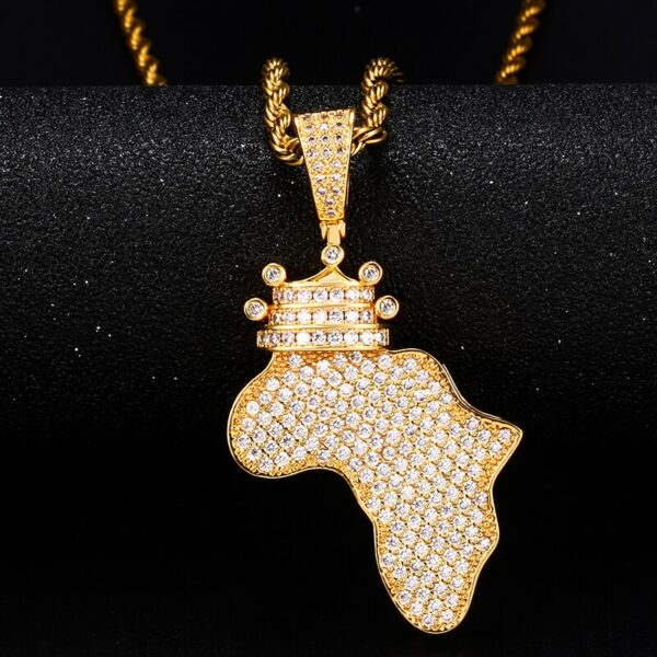 Crown Africa Continent AAA+ CZ Pendant, Cuban Link, Rope Chain, Tennis Necklace