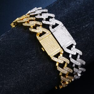 "12mm 8"" AAA+ CZ Stones Women's Fashion Gold/Silver Color Link Chain Bracelet"