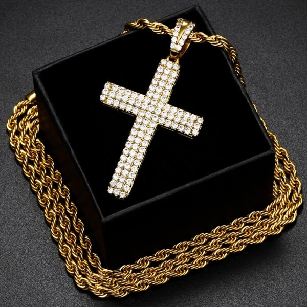 Iced 3-Row AAA+ Zircon Cross Pendant w/ Cuban Link, Rope Chain, Tennis Necklace