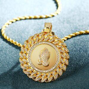 Allah Prayer Hand AAA+ CZ Stone Silver/Gold Jewelry w/20
