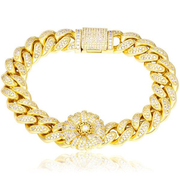 "Women's Flower Charm Iced AAA+ CZ 12mmx8"" Gold/Silver Cuban Link Bracelet"