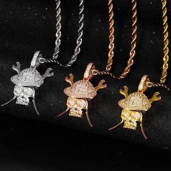 AAA+ CZ Stone Bling Iced Wrench Pirate Skull Pendant Gold/Rose/Silver With Chain
