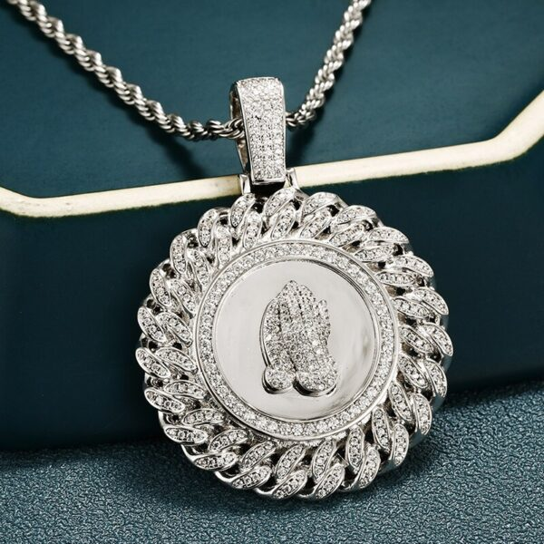 """Allah Prayer Hand AAA+ CZ Stone Silver/Gold Jewelry w/20"""",24"""" Necklace Chain"""