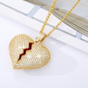 Women's Broken Heart Gold/Silver AAA+ Zircon Pendant With Cuban Link Chain