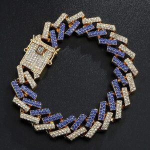 Bling Iced AAA+CZ Stone Cuban Link Bracelet Multi-Color 15MM 21cm(8inch)