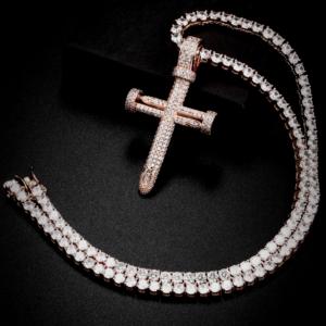 Men's Jesus Cross Pendant, Stainless Steel Cross Pendant, Women's Crucifix, Rope Chain, Cuban Link, Tennis Necklace, Jewelry AAA+CZ Rocks