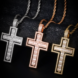 Rotating Double-Sided Christian Cross Pendant With Twisted Rope Chain Necklace