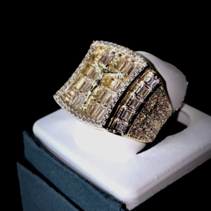 Men's Jesus Cross Iced Out Baguette 2.5ct Lab AAA+Cz Pinky Ring Sizes 6-10