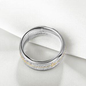 Unisex 8mm Wedding Band Unique Tungsten Carbide Design Engagement Beveled Edge