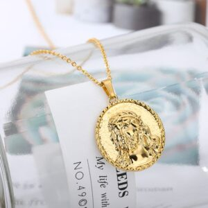 Women's Round Jesus Face Charm Pendant With Choker Necklace Chain