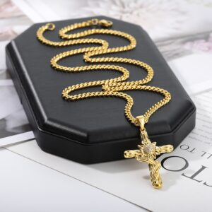 Christian AAA+CZ Jesus Cross Pendant With Cuban Link Chain Necklace
