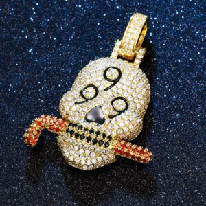 Iced Out AAA+Cz 999 Skull Pendant With 24