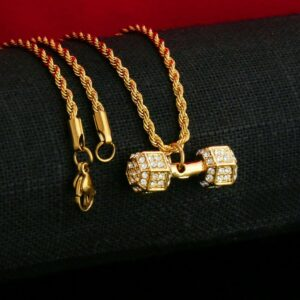 Sporty Iced Dumbbell AAA+CZ Pendant Gold Stainless Steel 20