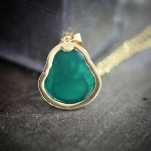 Green Jade Buddha Pendant With Chain Necklace Jewelry Set