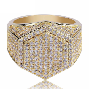 Men's Iced Out AAA+ CZ Stones Hexagon Shape Pinky Ring Icy Pave Setting Rock Square Piece Fashion Jewelry Rings