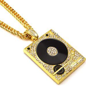Hip Hop Iced Dj Turntable AAA+CZ Pendant With 30