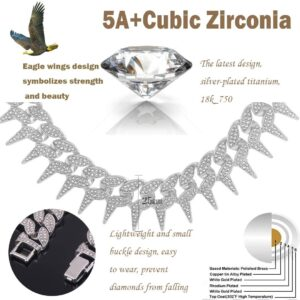 Unisex 25MM 18k Pink/Gold /Silver Titanium Spike AAA+CZ Rocks Punk Men's Miami Cuban Choker Thorns Link Necklace