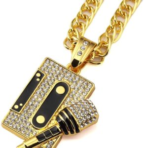 Iced AAA+CZ Mix Tape & Microphone Pendant Gold/Silver With Cuban Link