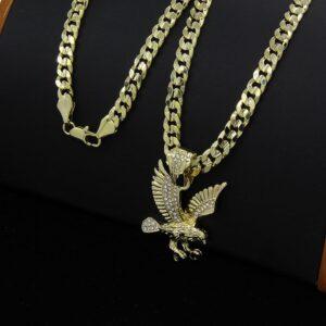 Patriotic Diamond Cut Eagle Pendant AAA+CZ Stones With 30