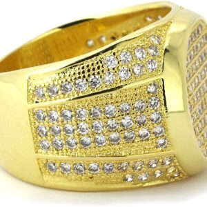 Men's Large Flat Face AAA+CZ Stones Pinky Ring Sizes 7-12
