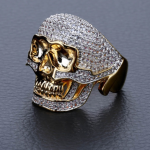 Iced Biker Skull Head Pinky Ring Micro-Pave AAA+CZ Stones Punk Skeleton Icy Rings