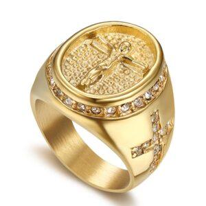 Men's Religious Jesus Cross AAA+CZ Rocks Pinky Ring Christian Jewelry Sizes 8-13