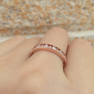 Women's Rose Gold Eternity Wedding Rings Solid 925 Sterling AAA+Cz Engagement Bands