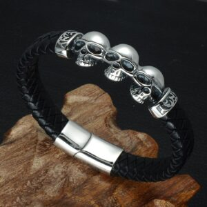 Men's 12MM Silver Skull Braided Leather Bracelet With Magnetic Clasp