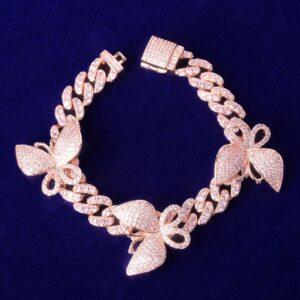 Women's 10mm Pink Miami Cuban Link Bracelet With Butterfly's AAA+CZ Bling  Jewelry