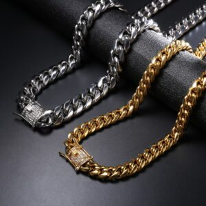 12mm Hot Miami Cuban Link Chain Iced Lab AAA+Cz Buckle 14k 316L Stainless Steel