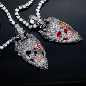 Fully Iced AAA+CZ Evil Devil Skull Head Pendant With Rope, Cuban, Franco, Or Tennis Chains