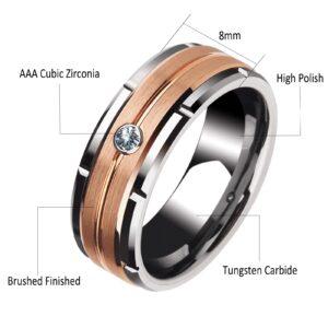 Men's Engagement Ring 8mm Tungsten Carbide White AAA+ Zircon Stones Wedding Band Size 8-13
