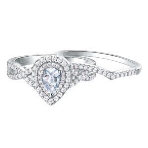 Women's 2 Pcs 925 Sterling Silver Wedding Engagement 1.7Ct Pear Shape Teardrop Ring Sets