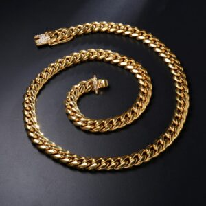 Miami Cuban Link Chain With Iced AAA+Cz Buckle Clasp 14k 316L Stainless Steel