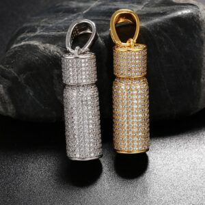 Unisex Iced Out AAA+ CZ Stone Micro-Pave Bottle Charm Pill Pendant Gold/Silver With 24″ Italian Rope Chain Women's Necklace, Men's Jewelry