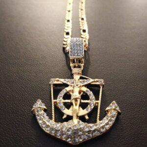 Jesus Christ Anchor Cross Pendant Charm Iced AAA+CZ Bling 5mm/24