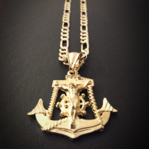 Jesus Christ Anchor Cross Pendant Religious Charm With 5mm 24