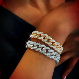 Unisex AAA+CZ Lab Stones, Thick Miami Cuban Link Bracelet, Size 8″x13mm, Men's Iced Out Jewelry, Women's Diamond Bracelets, Hip hop Fashion