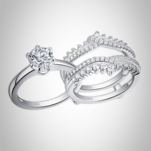 Women's 2 Pcs 925 Sterling Silver Wedding Ring Set Solitaire Engagement Rings Detachable Guard Band AAA+ CZ Stones