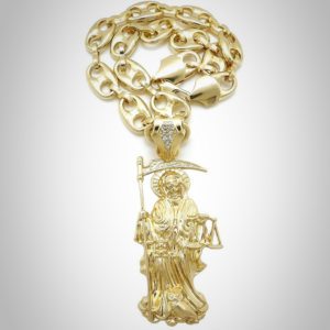 Our Lady of the Holy Death Santa Muerte Pendant AAA+CZ Stones 20