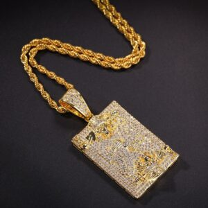 King's Skull Face Iced AAA+Cz Bling Pendant Gold/Silver Rope Chain Necklace