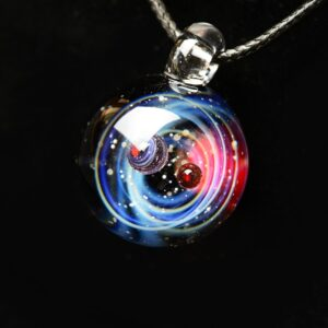Nebula Cosmic Handmade Galaxy Charm Pendant with Rope Leather Necklace