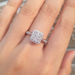 Women's Solid 925 Silver Engagement Round Princess Cut AAA+CZ Wedding Ring