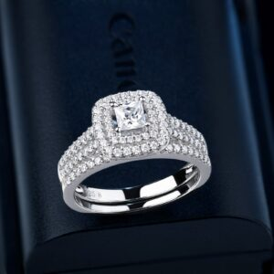 Women's Solid 925 AAA+ CZ Stone Engagement Ring Double Halo Princess Cut Silver Wedding Rings