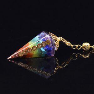 Beautiful 7 Chakra Natural Stone Orgonite Reiki Rainbow Dowsing Healing Point Pendulum