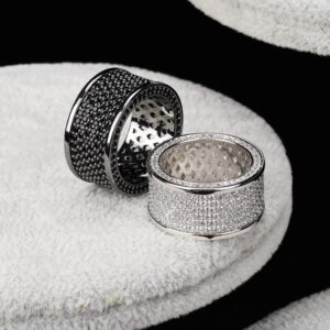 Unisex Iced Out AAA+CZ Round Cut 10mm Black / Silver Women's Engagement Bands, Men's Marriage Ring, Fashion Jewelry Set
